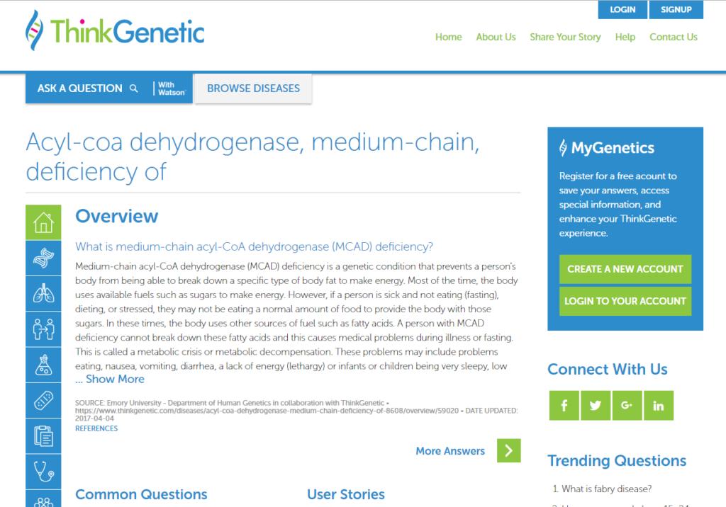 Medium-chain acyl-CoA dehydrogenase (MCAD) deficiency